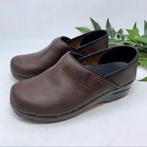 Dansko Professional Slip On Clog Brown Leather 38
